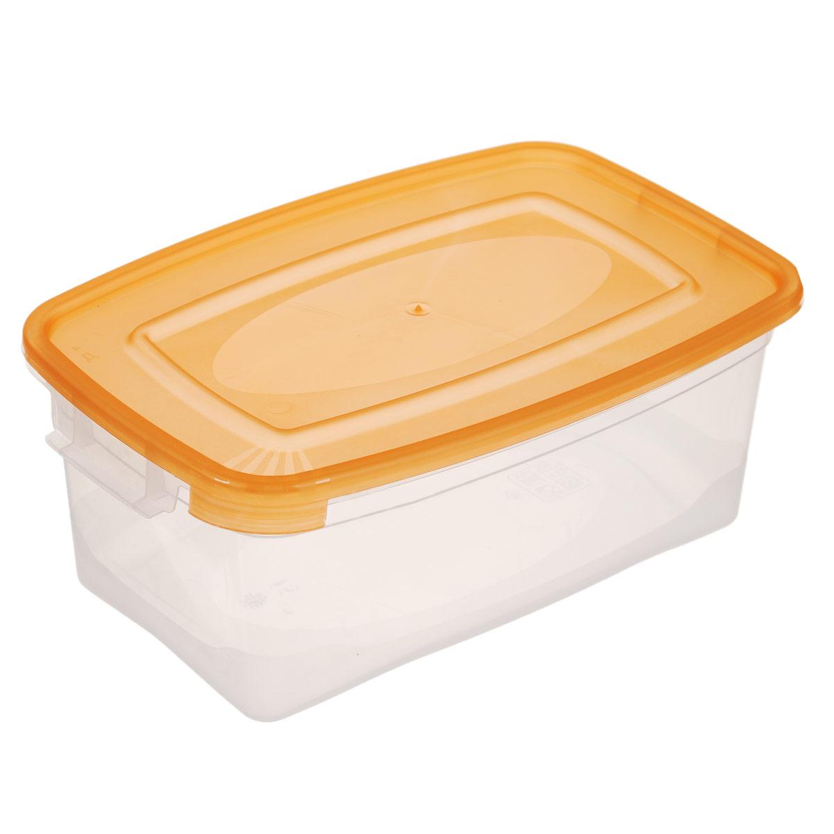 Контейнер Полимербыт Каскад, цвет: прозрачный, оранжевый, 1 л. С570С570Контейнер Полимербыт Каскад прямоугольной формы, изготовленный из прочного пластика, предназначен специально для хранения пищевых продуктов. Крышка легко открывается и плотно закрывается. Контейнер устойчив к воздействию масел и жиров, легко моется. Прозрачные стенки позволяют видеть содержимое. Контейнер имеет возможность хранения продуктов глубокой заморозки, обладает высокой прочностью. Подходит для использования в микроволновых печах. Можно мыть в посудомоечной машине.
