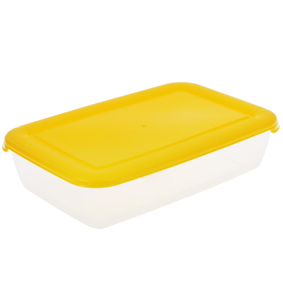 Контейнер Полимербыт Лайт, цвет: прозрачный, желтый, 1,9 лС553Контейнер Полимербыт Лайт прямоугольной формы, изготовленный из прочного пластика, предназначен специально для хранения пищевых продуктов. Крышка легко открывается и плотно закрывается. Контейнер устойчив к воздействию масел и жиров, легко моется. Прозрачные стенки позволяют видеть содержимое. Контейнер имеет возможность хранения продуктов глубокой заморозки, обладает высокой прочностью. Можно мыть в посудомоечной машине. Подходит для использования в микроволновых печах.