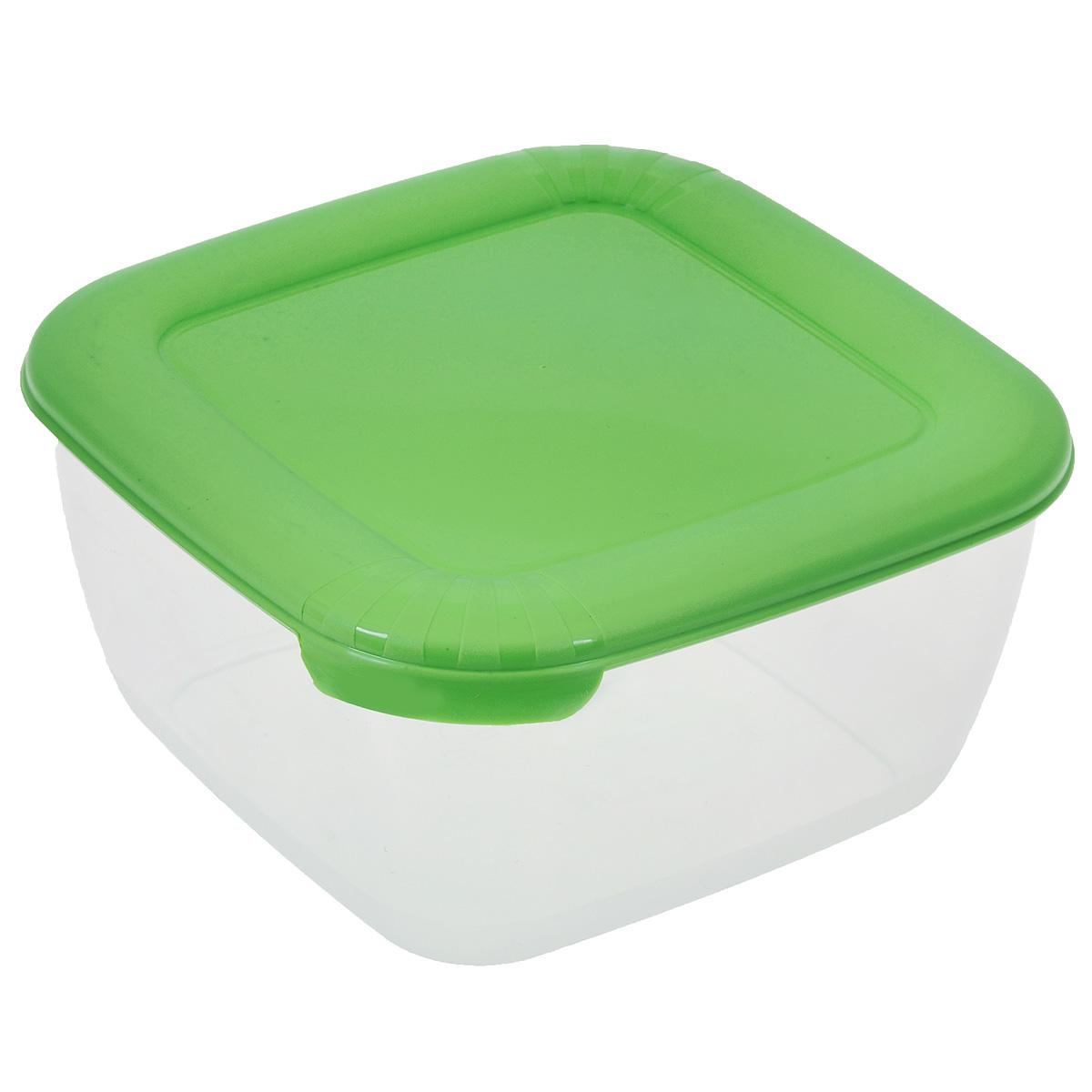 Контейнер для СВЧ Полимербыт Лайт, цвет: прозрачный, зеленый, 950 млС541Контейнер Полимербыт Лайт квадратной формы, изготовленный из прочного пластика, предназначен специально для хранения пищевых продуктов. Крышка легко открывается и плотно закрывается. Контейнер устойчив к воздействию масел и жиров, легко моется. Прозрачные стенки позволяют видеть содержимое. Контейнер имеет возможность хранения продуктов глубокой заморозки, обладает высокой прочностью. Можно мыть в посудомоечной машине. Контейнер подходит для использования в микроволновой печи без крышки, а также для заморозки в морозильной камере.