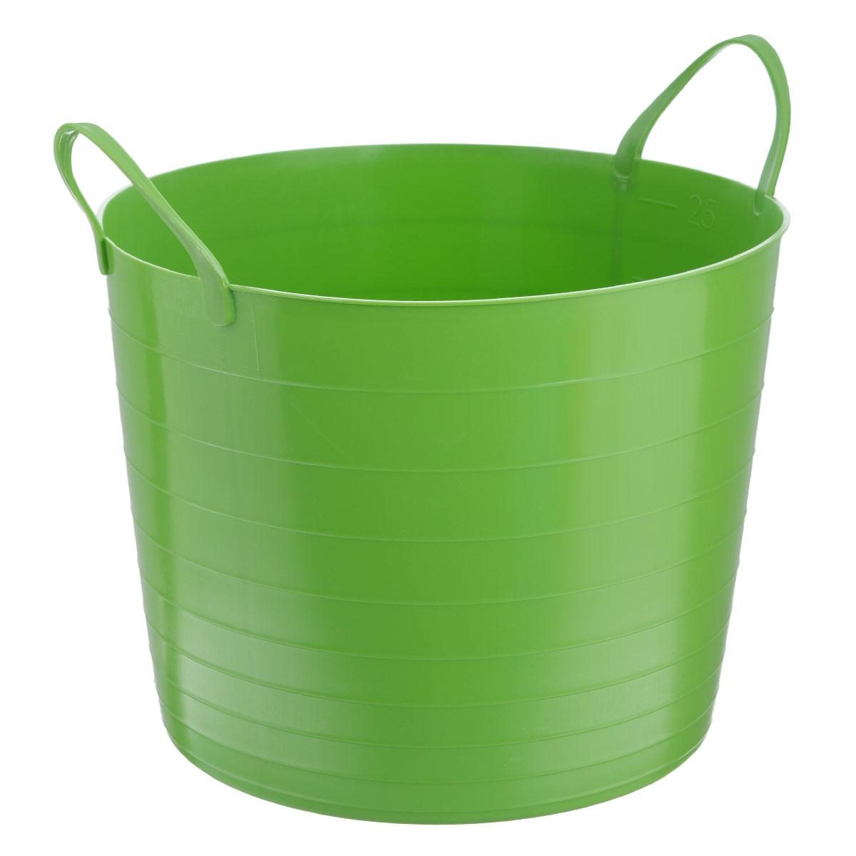 Корзина мягкая Idea, цвет: зеленый, 27 лМ 2881Мягкая корзина Idea изготовлена из гибкого пластика, оснащена двумя удобными ручками. Внутренняя поверхность имеет отметки литража. Размер (без учета ручек): 38 х 38 х 29,5 см.