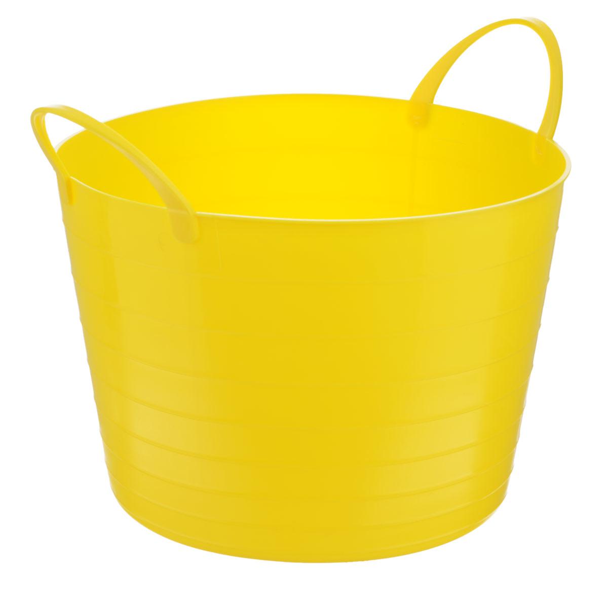 Корзина мягкая Idea, цвет: желтый, 17 лМ 2880Мягкая корзина Idea изготовлена из гибкого полиэтилена, оснащена двумя удобными ручками. Внутренняя поверхность имеет отметки литража. Такой корзинке можно найти множество применений в быту: для строительства, для сбора фруктов, овощей и грибов, для хранения бытовых предметов и много другого. Такая корзина пригодится в любом хозяйстве. Размер (без учета ручек): 33,5 х 33,5 х 24 см.