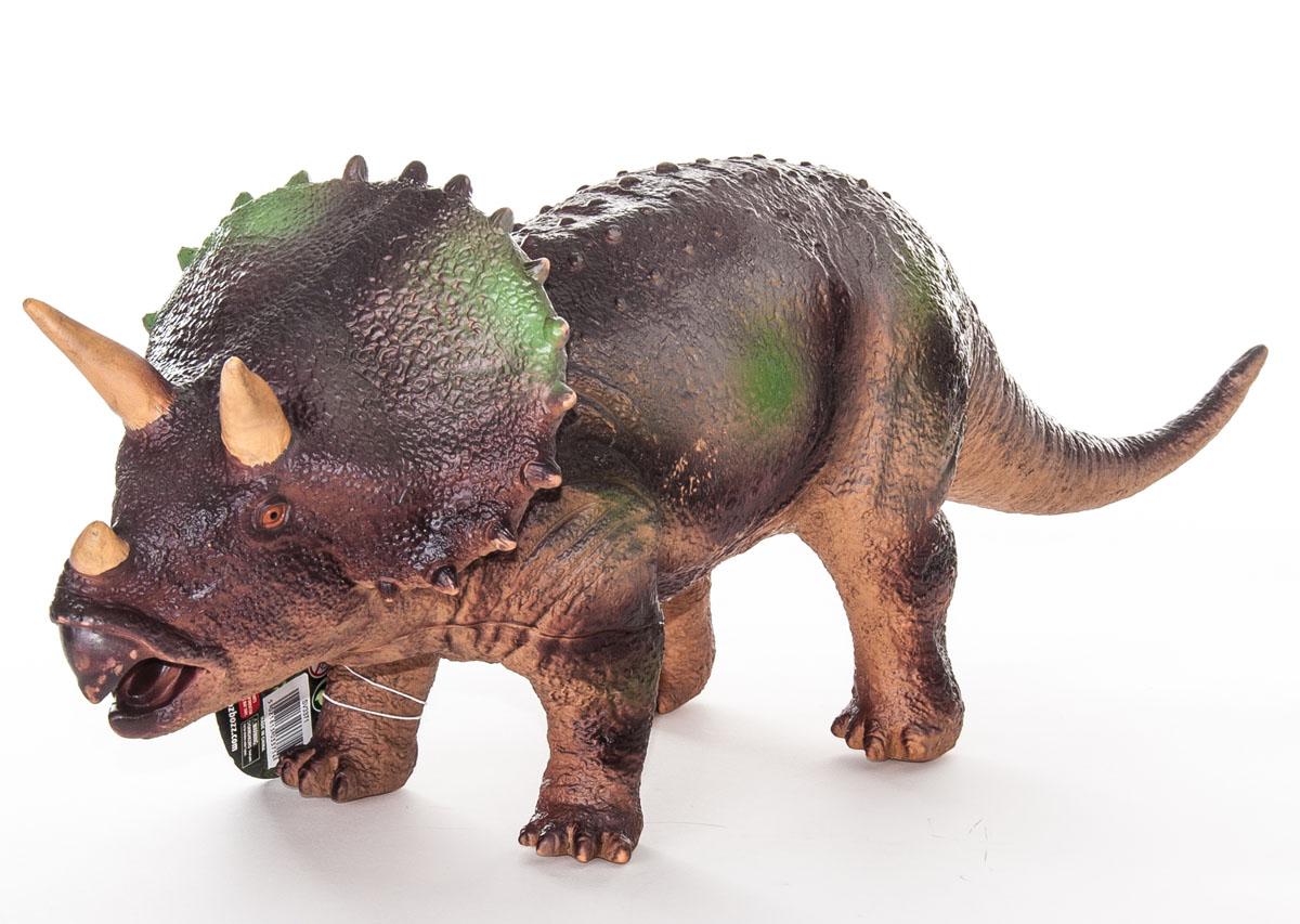 Megasaurs Фигурка Трицератопс цвет коричневый бежевыйSV17877Фигурка Megasaurs Трицератопс поможет вам мысленно перенестись в древнейший мир динозавров. Фигурка, изготовленная из высококачественной резины, повторяет внешний вид ящера, который жил миллионы лет назад. Трицератопс - большое животное, любившее мирно пастись в заливных лугах возле водоемов, живший в Меловом периоде. На голове трицератопса расположены три массивных рога, а шею обрамляет мощный костяной воротник. В длину достигал 9 метров и весил больше 10 тонн. Игрушка выполнена с поразительной детализацией, поэтому игра с ней будет по-настоящему интересной.