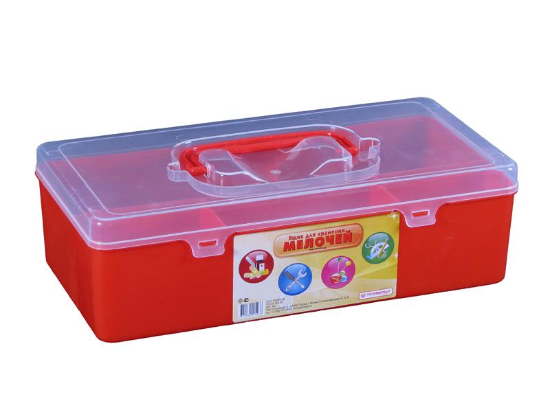 Ящик для мелочей Полимербыт, цвет: красный, 28,4 см х 14,4 см х 8,5 смС506Ящик Полимербыт, выполненный из прочного пластика, предназначен для хранения различных мелких вещей. Внутри имеются 4 отделения различных размеров: большое, среднее и два маленьких. Ящик закрывается при помощи прозрачной крышки, на которой расположена удобная ручка для переноски. Ящик Полимербыт поможет хранить все в одном месте, а также защитить вещи от пыли, грязи и влаги. Размеры отделений: Размер большого отделения: 28,4 см х 9 см х 8,5 см; Размер среднего отделения: 11,3 см х 4,7 см х 8,5 см; Размер малого отделения: 8 см х 4,7 см х 8,5 см.