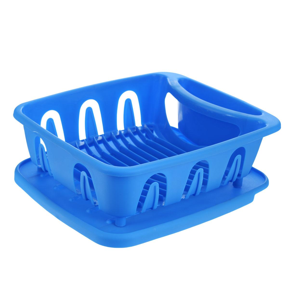 Подставка для посуды Oriental Way, цвет: голубой, 36 см х 31 см х 13 см154ED_голубойПодставка для посуды Oriental Way выполнена из высококачественного прочного пластика. Изделие имеет 12 выемок для сушки тарелок, а также емкость для столовых приборов. Для подставки предусмотрен специальный поддон, куда будет стекать вода. Подставка очень компактная и не займет много места на вашей кухне. Стильный яркий дизайн сделает ее красивым дополнением интерьера кухни.