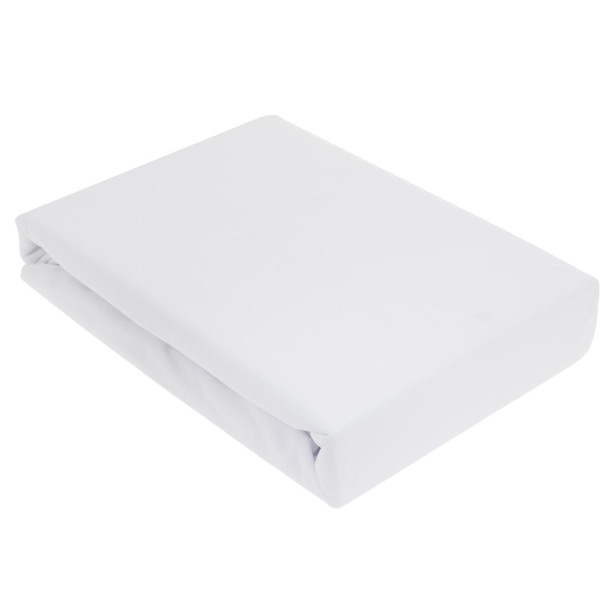 """Простыня OL-Tex """"Джерси"""", на резинке, цвет: белый, 200 см х 200 см х 20 см Птр-200_белый"""