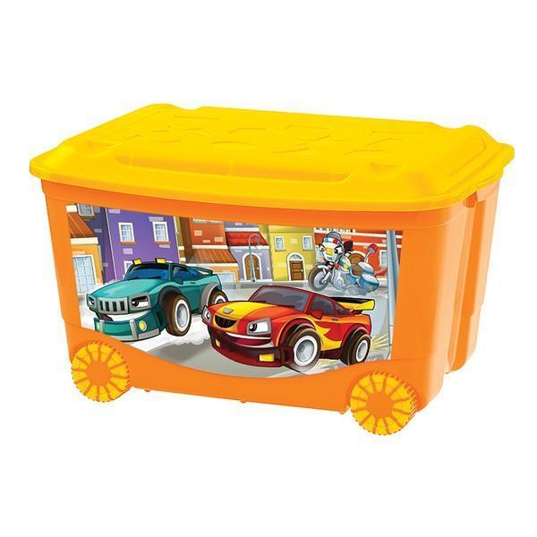 Ящик для игрушек на колесах 580х390х335 с аппликацией. С13809