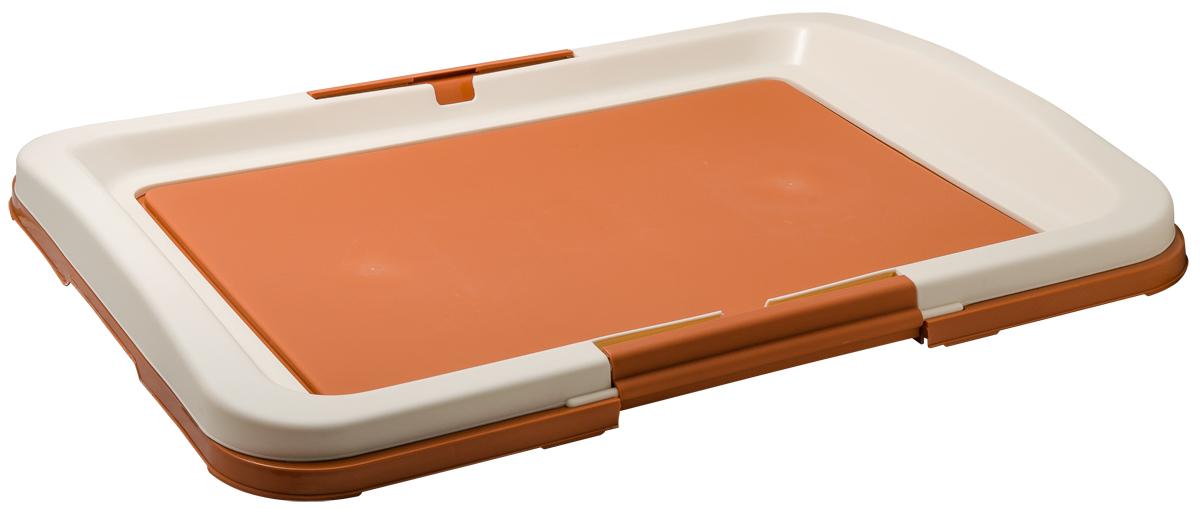 Туалет для собак V.I.Pet Японский стиль, цвет: коричневый, молочный, 63 х 49 х 6 смP103-02Туалет для собак V.I.Pet Японский стиль, изготовленный из нетоксичного пластика, предназначен для собак и щенков. Гигиеническая пеленка помещается под решетку, которая удерживается боковыми фиксаторами. Туалет легко моется водой. Уважаемые клиенты! Рекомендуется использовать с пеленкой V.I.Pet 40 см х 60 см. Гигиеническая пеленка в комплект не входит.