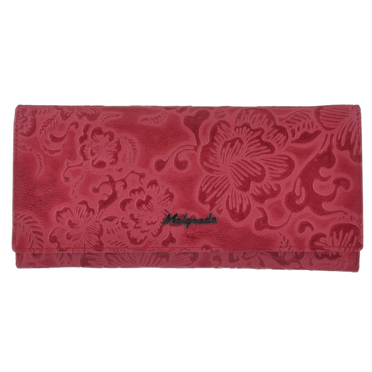Кошелек женский Malgrado, цвет: красно-розовый. 72076-1820272076-18202# RedСтильный кошелек Malgrado изготовлен из высококачественной натуральной кожи с тиснением в виде цветочного орнамента. Лицевая сторона оформлена гравировкой в виде названия бренда. Изделие закрывается широким клапаном на застежку-кнопку. Внутри расположены три отделения для купюр, два кармана на застежке-молнии, девять кармашков для визиток и кредитных карт (один из них с прозрачным окошком из мягкого пластика), три потайных кармана, два горизонтальных кармана для бумаг. На тыльной стороне изделия расположен прорезной карман на застежке-молнии. Кошелек упакован в подарочную металлическую коробку синего цвета с логотипом фирмы. Стильный кошелек не оставит равнодушной ни одну представительницу прекрасной половины человечества.