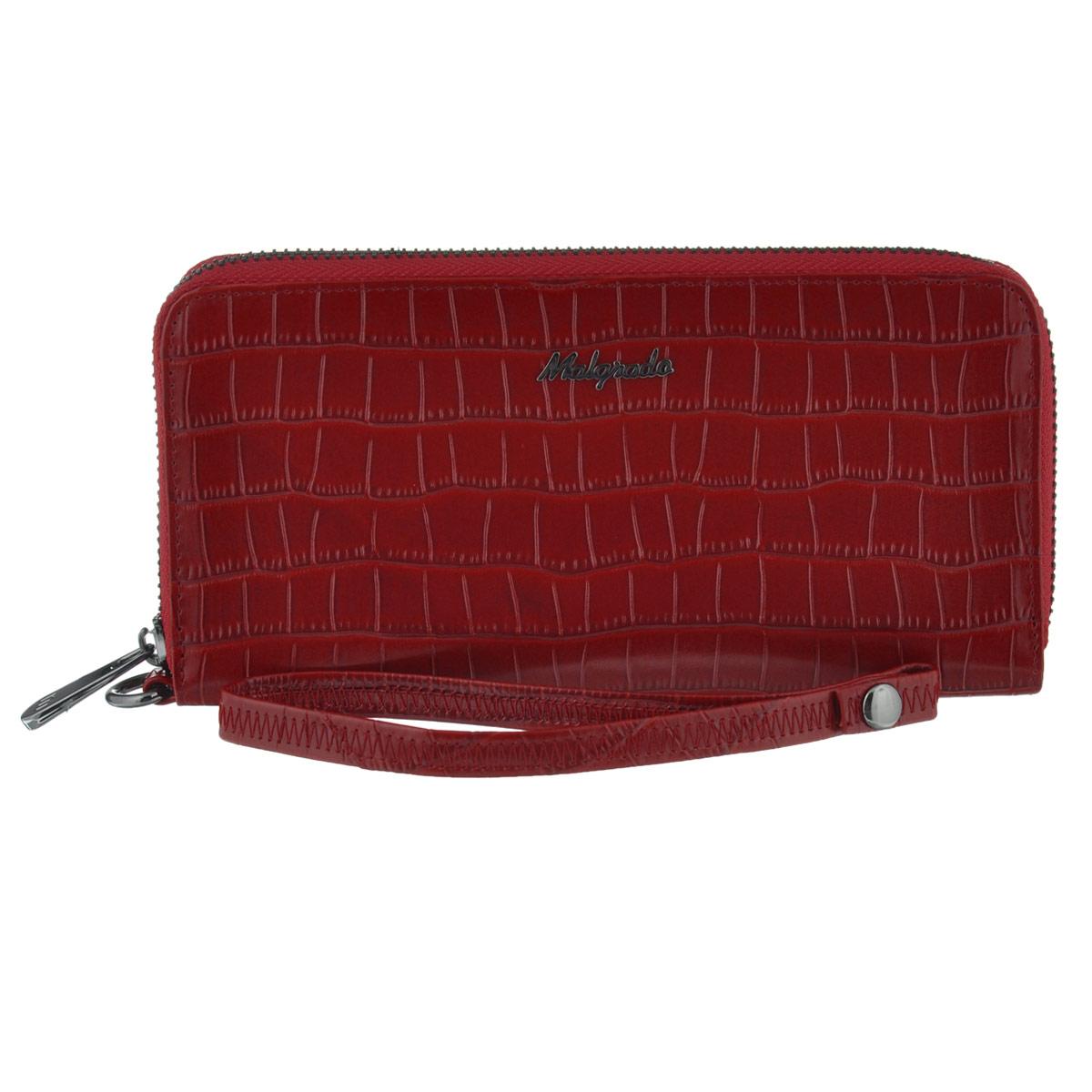 Кошелек женский Malgrado, цвет: красный. 73005-4370273005-43702# RedСтильный кошелек-клатч Malgrado выполнен из натуральной высококачественной кожи с тиснением под рептилию. Лицевая сторона оформлена гравировкой в виде названия бренда. Изделие закрывается по периметру на металлическую застежку-молнию. Внутри расположены три отделения для купюр, карман для мелочи на застежке-молнии, два потайных кармана и восемь прорезных кармашков для пластиковых карт и визиток. В комплект входит кожаный ремешок для удобной переноски. Высота ремешка 16,5 см. Изделие упаковано в подарочную металлическую коробку синего цвета с логотипом фирмы. Стильный кошелек-клатч не оставит равнодушной ни одну представительницу прекрасной половины человечества.
