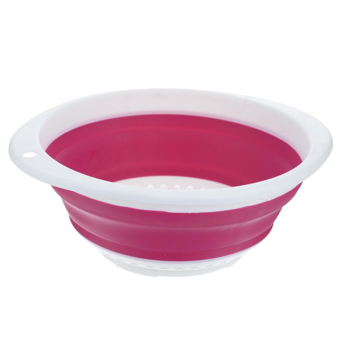 """Дуршлаг складной """"Oriental Way"""", цвет: белый, розовый, 30 см х 27 см"""
