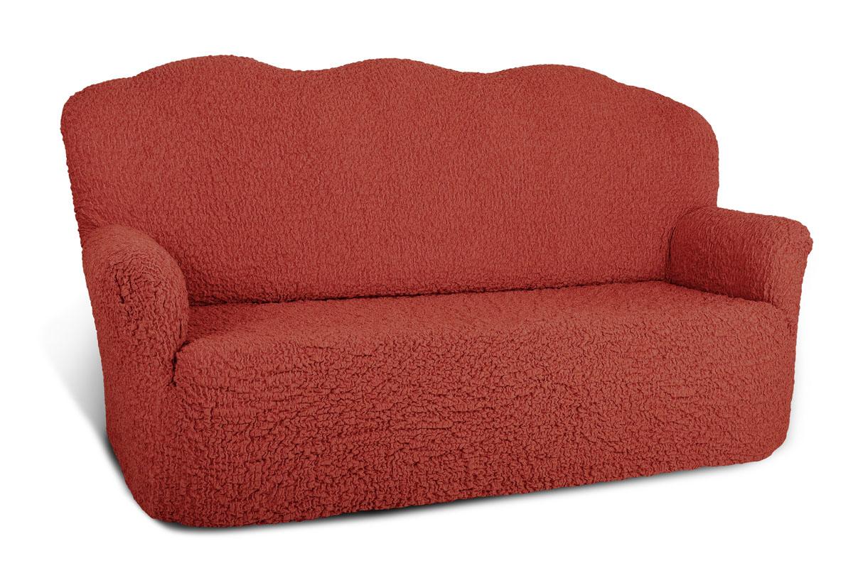 Еврочехол на 3-х местный диван «Шинил» Терракотовый  пуфик 35