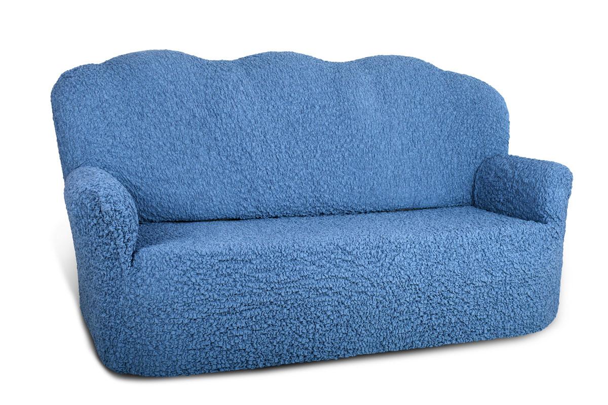 Еврочехол на 3-х местный диван «Шинил» Лазурный  кресло пуфик москва