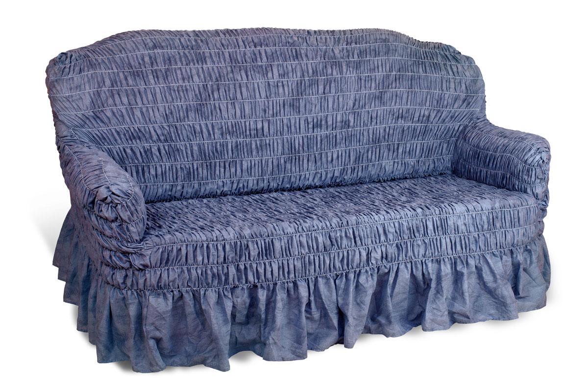 Чехол на 3-х местный диван Еврочехол Фантазия, цвет: синий, 160-220 см2/10-3Чехол на 3-х местный диван Еврочехол Фантазия выполнен из 50% хлопка, 50% полиэстера. Он идеально подойдет для тех, кто хочет защитить свою мебель от постоянных воздействий. Этот чехол, благодаря прочности ткани, станет идеальным решением для владельцев домашних животных. Кроме того, состав ткани гипоаллергенен, а потому безопасен для малышей или людей пожилого возраста. Такой чехол отлично впишется в любой интерьер. Еврочехол послужит не только практичной защитой для вашей мебели, но и приятно удивит вас мягкостью ткани и итальянским качеством производства. Растяжимость чехла по спинке (без учета подлокотников): 160-220 см.
