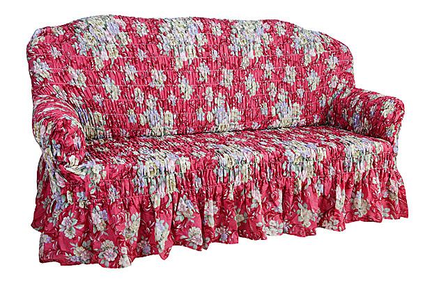 Чехол на 3-х местный диван Еврочехол «Фантазия», цвет: светло-зеленый, красный, 160-220 см  пуфик ракушка своими руками