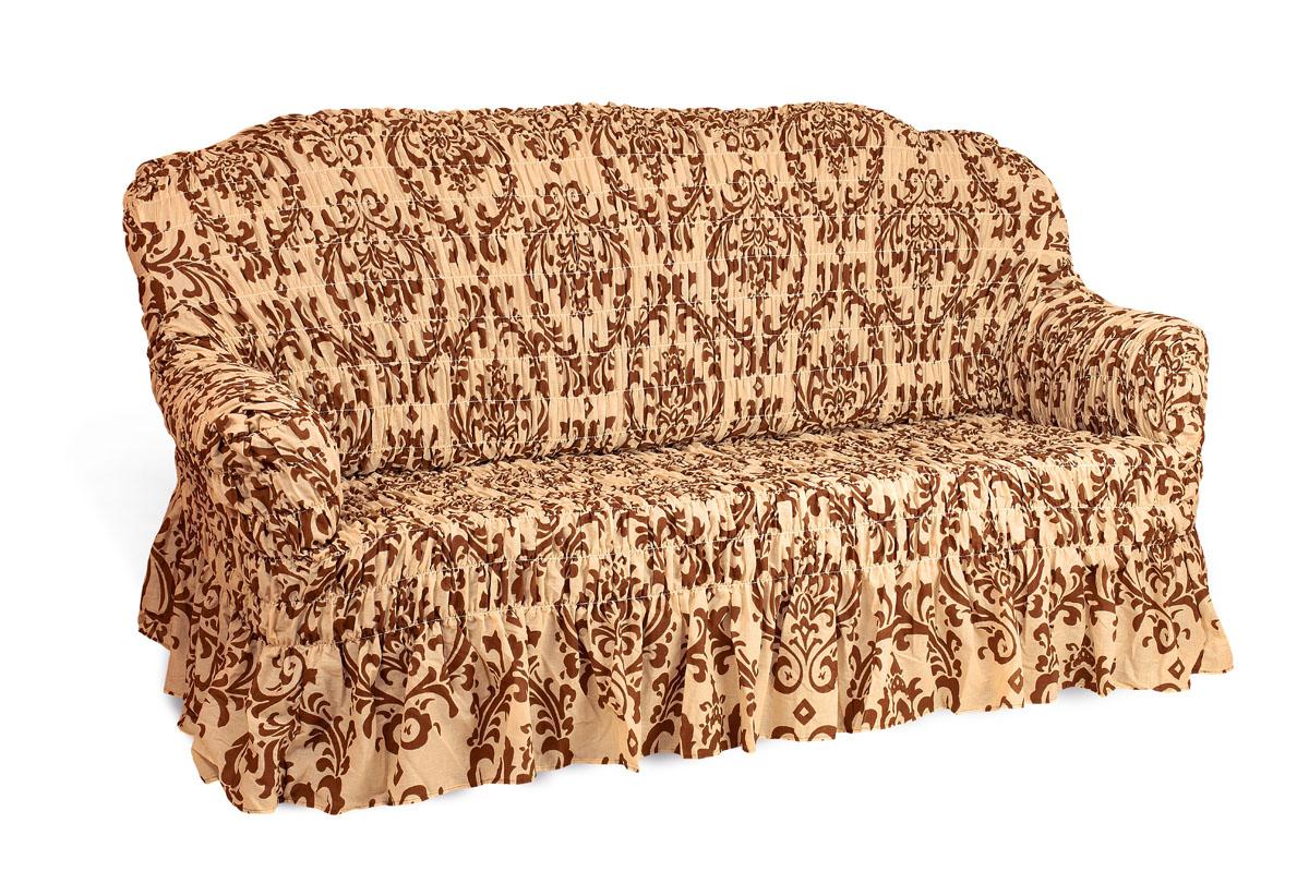 Чехол на 3-х местный диван Еврочехол Фантазия, цвет: бежевый, темно-коричневый, 160-220 см2/7-3Чехол на 3-х местный диван Еврочехол Фантазия выполнен из 50% хлопка, 50% полиэстера. Он идеально подойдет для тех, кто хочет защитить свою мебель от постоянных воздействий. Этот чехол, благодаря прочности ткани, станет идеальным решением для владельцев домашних животных. Кроме того, состав ткани гипоаллергенен, а потому безопасен для малышей или людей пожилого возраста. Такой чехол отлично впишется в любой интерьер. Еврочехол послужит не только практичной защитой для вашей мебели, но и приятно удивит вас мягкостью ткани и итальянским качеством производства. Растяжимость чехла по спинке (без учета подлокотников): 160-220 см.