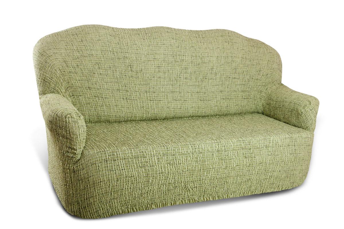 Чехол на 3-х местный диван Еврочехол «Плиссе», цвет: фисташковый, 150-210 см  дзеркало з тумбочкою