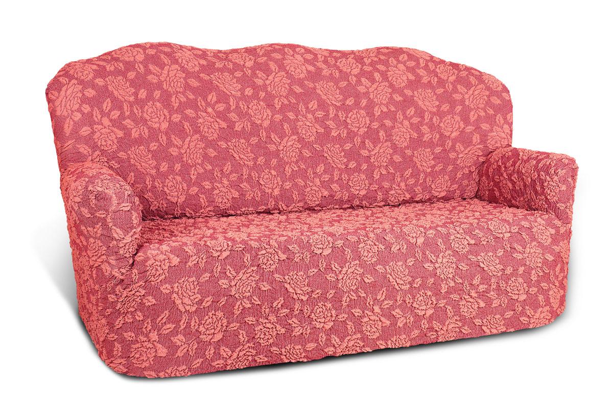 Еврочехол на 3-х местный диван «Жаккард» Розы  журнальный столик консоль