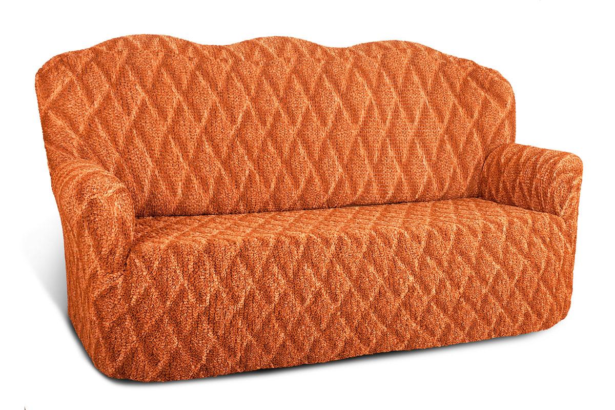Чехол на 3-х местный диван Еврочехол Виста, цвет: терракотовый, 160-240 см. 6/38-36/38-3Чехол на 3-х местный диван Еврочехол Виста выполнен из 50% хлопка, 50% полиэстера. Он идеально подойдет для тех, кто хочет защитить свою мебель от постоянных воздействий. Этот чехол, благодаря прочности ткани, станет идеальным решением для владельцев домашних животных. Кроме того, состав ткани гипоаллергенен, а потому безопасен для малышей или людей пожилого возраста. Такой чехол отлично впишется в любой интерьер. Еврочехол послужит не только практичной защитой для вашей мебели, но и приятно удивит вас мягкостью ткани и итальянским качеством производства. Растяжимость чехла по спинке (без учета подлокотников): 160-240 см.