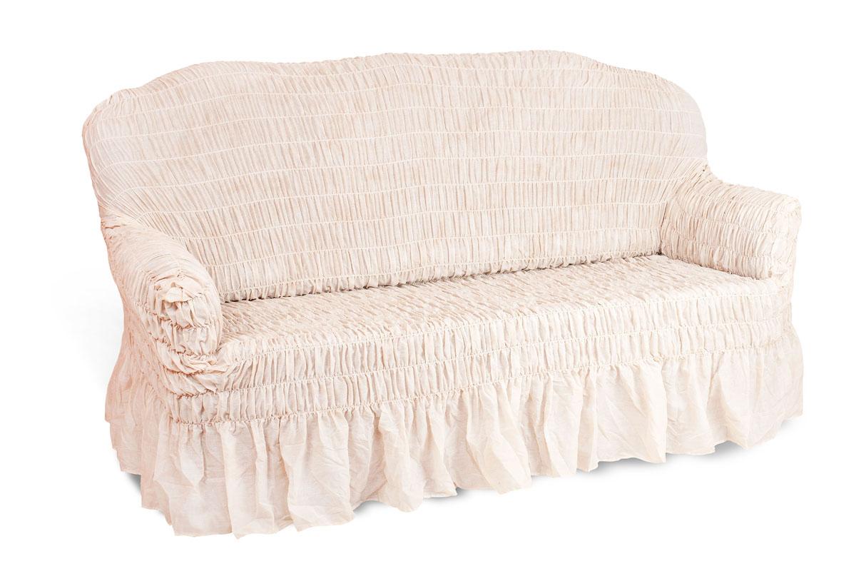Чехол на 2-х местный диван Еврочехол «Фантазия», цвет: молочный, 100-160 см  тумбочка под телевизор минск