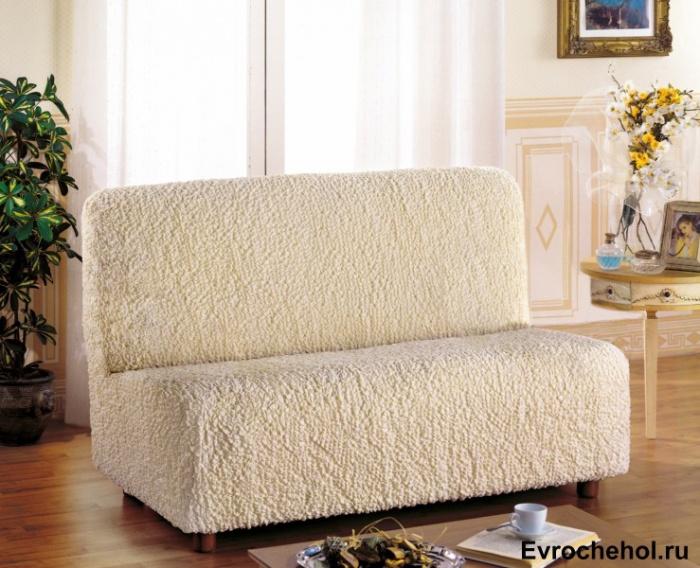 Чехол на 2-х местный диван Еврочехол Модерн, без подлокотников, цвет: шампань, 100-150 см1/1-6Чехол на 2-х местный диван Еврочехол Модерн выполнен из 60% хлопка, 35% полиэстера, 5% эластана. Он идеально подойдет для тех, кто хочет защитить свою мебель от постоянных воздействий. Этот чехол, благодаря прочности ткани, станет идеальным решением для владельцев домашних животных. Кроме того, состав ткани гипоаллергенен, а потому безопасен для малышей или людей пожилого возраста. Такой чехол отлично впишется в любой интерьер. Еврочехол послужит не только практичной защитой для вашей мебели, но и приятно удивит вас мягкостью ткани и итальянским качеством производства. Растяжимость чехла по спинке: 100-150 см.