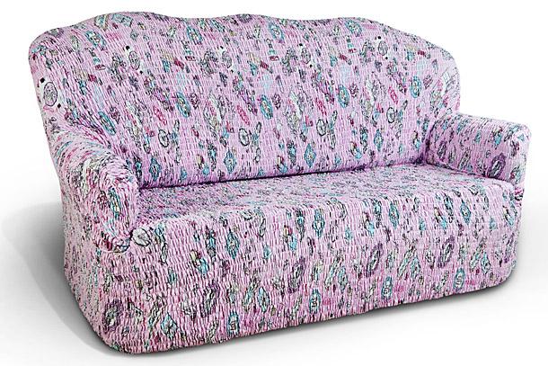Чехол на 2-х местный диван Еврочехол «Каприз», цвет: розовый, голубой, белый, 120-160 см  диван кровать угловой модульный