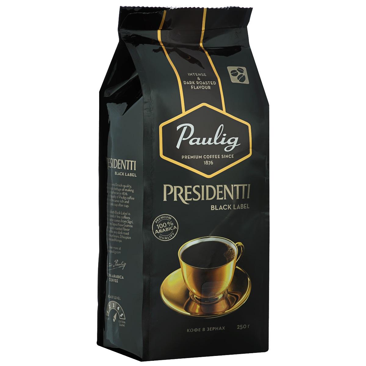 Paulig Presidentti Black Label кофе в зернах, 250 г16564Paulig Presidentti Black Label – это премиальный темный кофе высочайшего качества. Редкие кофейные зерна из Папуа – Новой Гвинеи, которые называются «Сигри», дарят напитку яркий, насыщенный вкус. Изысканная горчинка во вкусе и богатый аромат достигаются благодаря специально отобранным кофейным зернам из Африки и сильной обжарке.