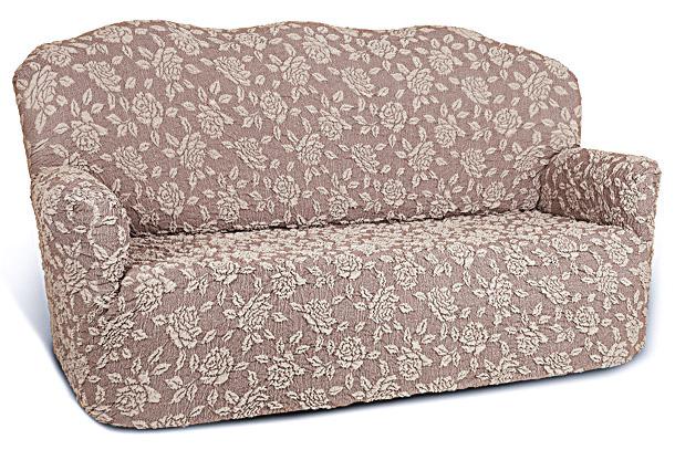 Чехол на 2-х местный диван Еврочехол «Жаккард», цвет: бежевый, коричневый, 120-160 см  диван кровать с каретной стяжкой