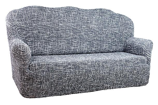 Чехол на 2-х местный диван Еврочехол «Виста», цвет: светло-серый, белый, 120-160 см  пуфик бегемот кожаный купить в москве