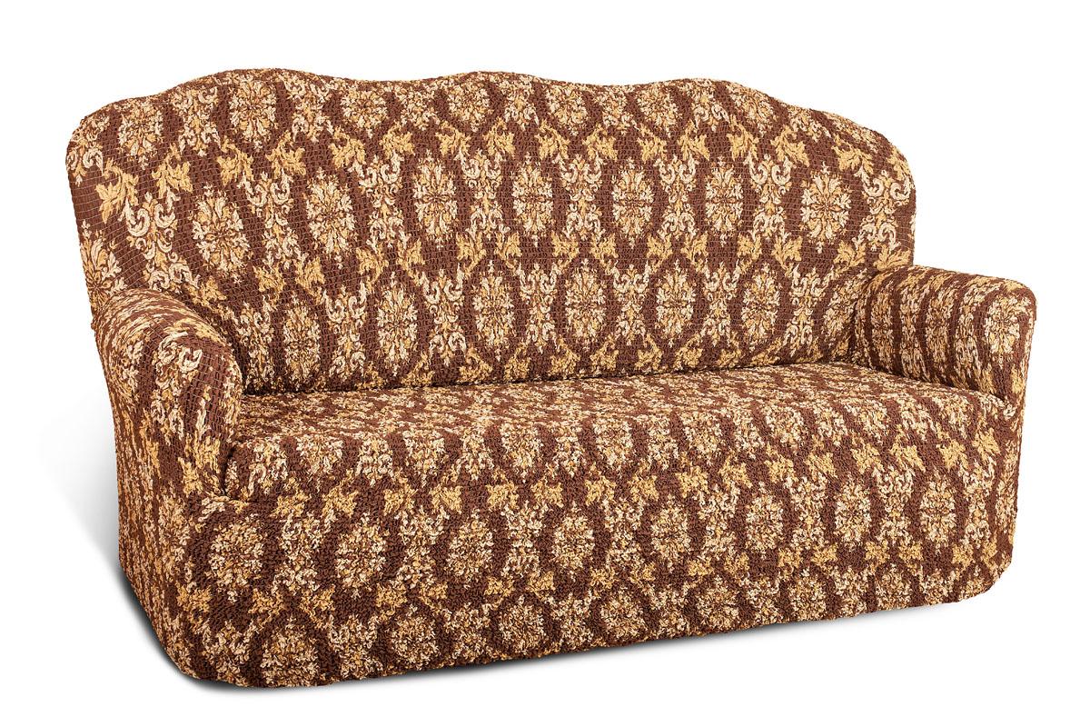 Чехол на 2-х местный диван Еврочехол Виста. Классик, цвет: коричневый, кремовый, 100-160 см6/37-2Чехол на 2-х местный диван Еврочехол Виста. Классик выполнен из 50% хлопка, 50% полиэстера. Он идеально подойдет для тех, кто хочет защитить свою мебель от постоянных воздействий. Этот чехол, благодаря прочности ткани, станет идеальным решением для владельцев домашних животных. Кроме того, состав ткани гипоаллергенен, а потому безопасен для малышей или людей пожилого возраста. Такой чехол отлично впишется в любой интерьер. Еврочехол послужит не только практичной защитой для вашей мебели, но и приятно удивит вас мягкостью ткани и итальянским качеством производства. Растяжимость чехла по спинке: 100-160 см.