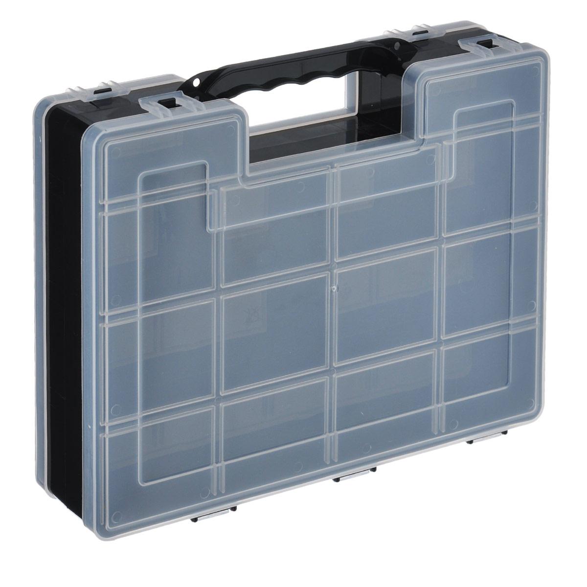Органайзер для инструментов Idea, двухсторонний, цвет: черный, 27,2 см х 21,7 см х 6,7 смМ 2956Двухсторонний органайзер Idea, изготовленный из пластика, выполнен в форме кейса. Органайзер служит для хранения и переноски инструментов. Внутри - 14 отделений с одной стороны и 9 с другой. Органайзер надежно закрывается при помощи пластмассовых защелок. Крышка выполнена из прозрачного пластика, что позволяет видеть содержимое. Размеры секций (лицевая сторона): - размер (12 секций): 6,6 см х 5,3 см х 3 см; - размер (2 секций): 8,1 см х 3,3 см х 3 см. Размеры секций (задняя сторона): - размер (2 секций): 13,2 см х 5,3 см х 3 см; - размер (1 секции): 26,6 см х 5,3 см х 3 см; - размер (4 секций): 6,6 см х 5,3 см х 3 см; - размер (2 секций): 8,1 см х 3,3 см х 3 см.