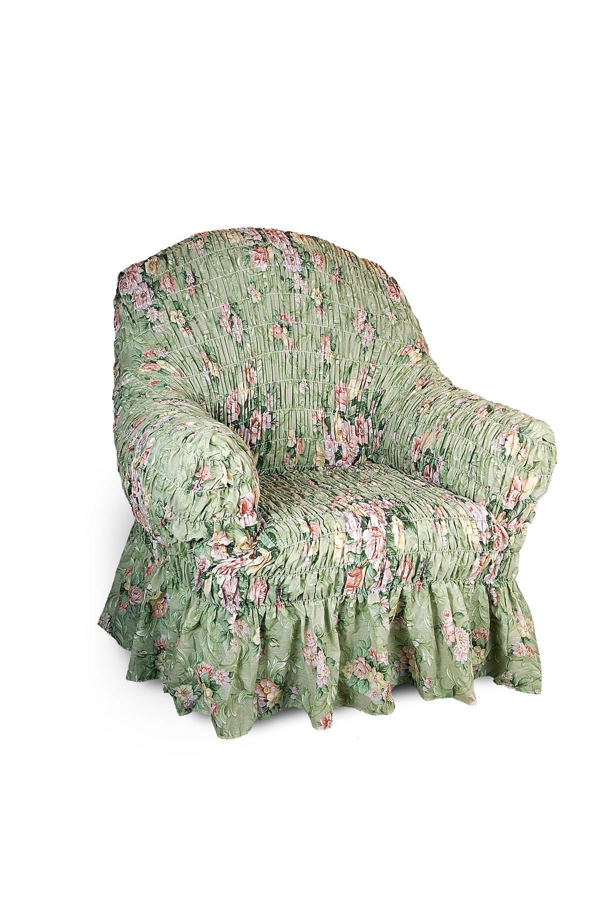 Чехол на кресло Еврочехол Фантазия. Феличита, 60-100 см2/14-1Чехол на кресло Еврочехол Фантазия. Феличита выполнен из 50% хлопка, 50% полиэстера. Он защитит вашу мебель от ежедневных воздействий. Натуральный состав ткани гипоаллергенен, а потому безопасен для малышей или людей пожилого возраста. Чехол в классическом цветовом исполнении - один из самых востребованных. Наличие оборки (юбки) по нижнему краю чехла придает мебели особое очарование, изюминку, привнося в интерьер помещения уют, свежесть, легкость и мягкость. Неважно, в каком стиле выполнена обстановка (это может быть классический интерьер, либо скандинавского стиля, или даже в колониальных мотивах), чехол чудесно дополнит стилистику любого интерьера - от ретро до современности. Гостиная, детская, кухня, прихожая или спальня - с таким чехлом любая комната наполнится нежностью и любовью. Растяжимость чехла по спинке (без учета подлокотников): 60-100 см.