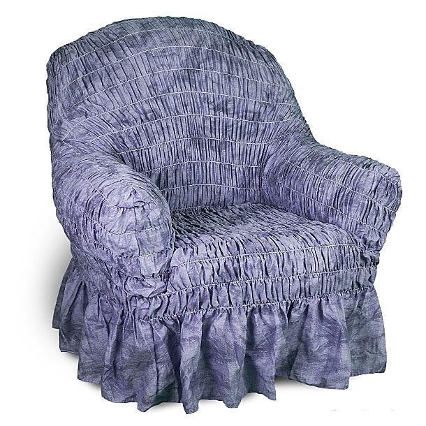 Еврочехол на кресло Еврочехол Фантазия, цвет: синий. 2/10-12/10-1Еврочехол на кресло Фантазия защитит вашу мебель от ежедневных воздействий внешних факторов. Натуральный состав ткани гипоаллергенен, а потому безопасен для малышей или людей пожилого возраста. Синий цвет всегда был популярным как в сдержанном классическом стиле интерьера или в стилистике модерна, где преимущественно распространены однотонные элементы декора, так и в романтическом провансе, где приглушенные оттенки лаконично и гармонично сочетаются с иными чертами. Чехол для мебели синего цвета создаст атмосферу утонченности и элегантности как городских, так и загородных домов. Наличие оборки (юбки) по нижнему краю чехла придает мебели особое очарование, изюминку, привнося в интерьер помещения уют, свежесть, легкость и мягкость. А сочетание доступной цены и итальянского качества - это еще одно преимущество натяжного чехла. Гостиная, детская, кухня, прихожая или спальня - с таким чехлом любая комната будет смотреться стильно всегда. Состав: 50% хлопок, 50% полиэстер....