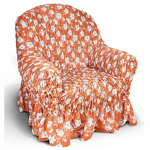 Чехол на кресло Еврочехол Фантазия, цвет: оранжевый, 60-100 см2/17-1Чехол на кресло Еврочехол Фантазия выполнен из 50% хлопка, 50% полиэстера. Он защитит вашу мебель от ежедневных воздействий. Натуральный состав ткани гипоаллергенен, а потому безопасен для малышей или людей пожилого возраста. Чехол в классическом цветовом исполнении - один из самых востребованных. Наличие оборки (юбки) по нижнему краю чехла придает мебели особое очарование, изюминку, привнося в интерьер помещения уют, свежесть, легкость и мягкость. Неважно, в каком стиле выполнена обстановка (это может быть классический интерьер, либо скандинавского стиля, или даже в колониальных мотивах), чехол чудесно дополнит стилистику любого интерьера - от ретро до современности. Гостиная, детская, кухня, прихожая или спальня - с таким чехлом любая комната наполнится нежностью и любовью. Растяжимость чехла по спинке (без учета подлокотников): 60-100 см.