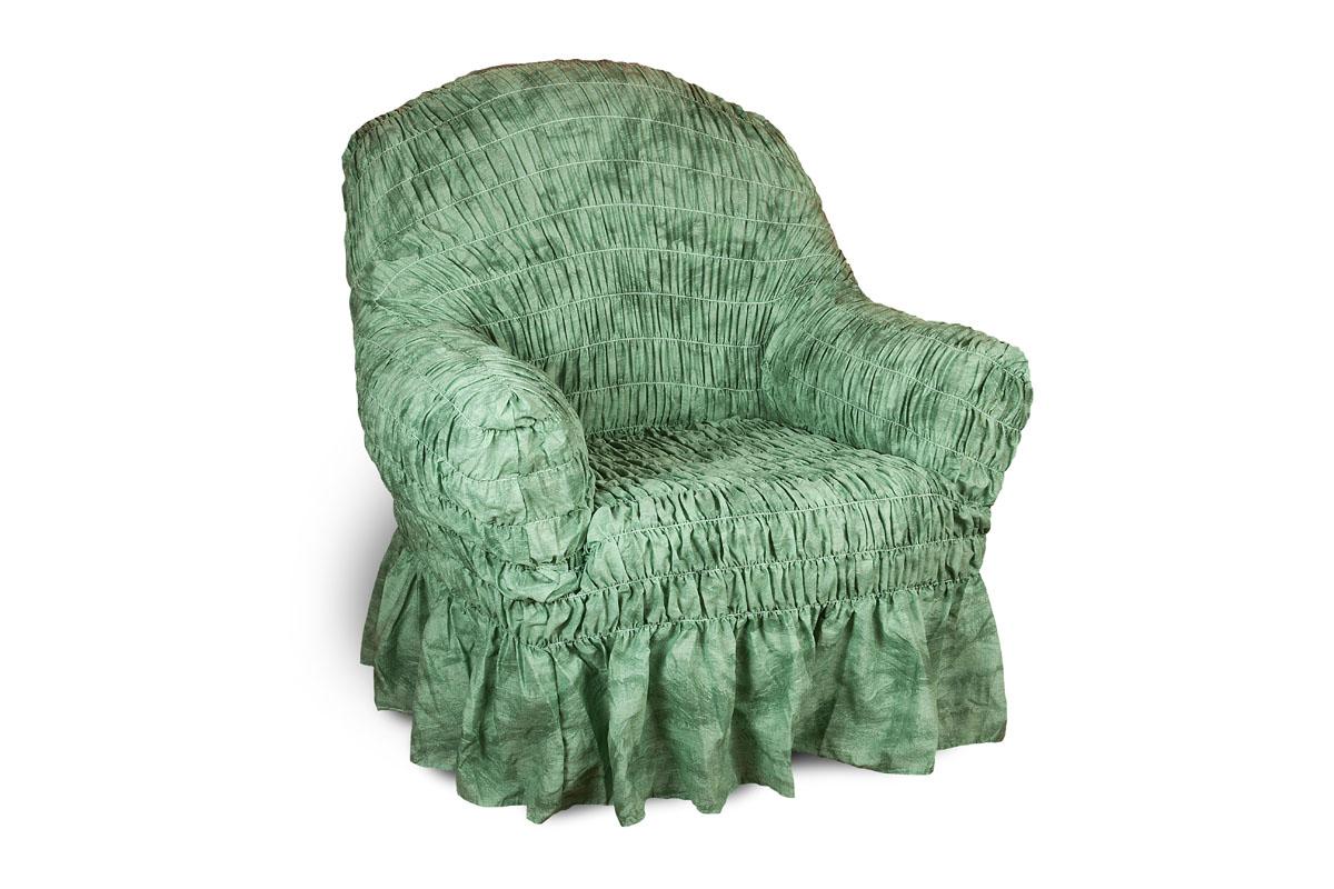 Чехол на кресло Еврочехол Фантазия, цвет: зеленый, 60-100 см2/11-1Чехол на кресло Еврочехол Фантазия выполнен из 50% хлопка, 50% полиэстера. Он защитит вашу мебель от ежедневных воздействий. Натуральный состав ткани гипоаллергенен, а потому безопасен для малышей или людей пожилого возраста. Чехол в классическом цветовом исполнении - один из самых востребованных. Наличие оборки (юбки) по нижнему краю чехла придает мебели особое очарование, изюминку, привнося в интерьер помещения уют, свежесть, легкость и мягкость. Неважно, в каком стиле выполнена обстановка (это может быть классический интерьер, либо скандинавского стиля, или даже в колониальных мотивах), чехол чудесно дополнит стилистику любого интерьера - от ретро до современности. Гостиная, детская, кухня, прихожая или спальня - с таким чехлом любая комната наполнится нежностью и любовью. Растяжимость чехла по спинке (без учета подлокотников): 60-100 см.