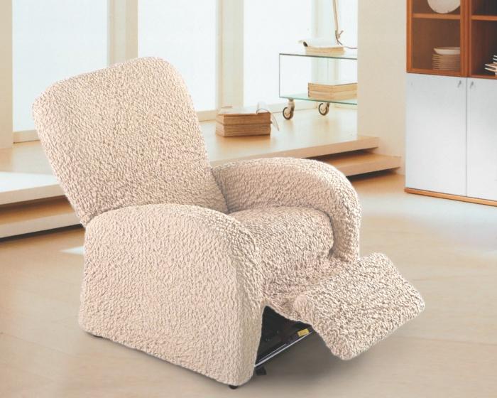 Чехол на кресло-ТВ Еврочехол Модерн, цвет: шампань, 60-90 см1/1-15Чехол на кресло-ТВ Еврочехол Модерн выполнен из 60% хлопка, 35% полиэстера, 5% эластана. Данный чехол подходит для комфортабельного кресла с подлокотниками и выдвигающейся подставкой для ног. Благодаря прочности ткани этот чехол для мебели станет идеальным решением защиты мебели для владельцев домашних животных. Кроме того, натуральный состав ткани гипоаллергенен, а потому безопасен для малышей или людей пожилого возраста. Такой чехол обогатит интерьер вашего дома. Чехол на кресло Еврочехол Модерн актуален для таких стилевых решений, как скандинавский, лофт, английский, эко-стиль, Нью-йоркский. Мягкая ткань из высокопрочного хлопка обеспечит вашему креслу достойную защиту от воздействий, а современный стиль подарит ежедневную радость от обновленной обстановки в доме. Растяжимость чехла по спинке (без учета подлокотников): 60-90 см.