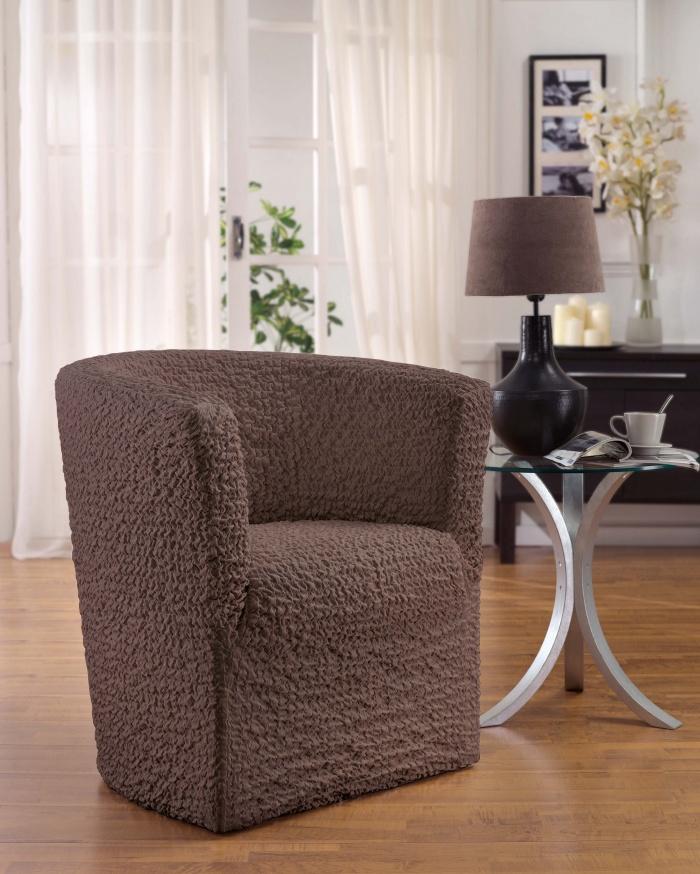 Чехол на кресло-ракушку Еврочехол Модерн, цвет: какао, 60-90 см1/3-19Чехол на кресло-ракушку Еврочехол Модерн выполнен из 60% хлопка, 35% полиэстера, 5% эластана. Данный вид чехлов разработан специально для мебели, подлокотники и спинка которой расположены на одном уровне, вне зависимости от формы спинки (закругленной или с углами). Благодаря прочности ткани этот чехол для мебели станет идеальным решением защиты мебели для владельцев домашних животных. Кроме того, натуральный состав ткани гипоаллергенен, а потому безопасен для малышей или людей пожилого возраста. Такой чехол обогатит интерьер вашего дома. Чехол на кресло Еврочехол Модерн актуален для таких стилевых решений, как скандинавский, лофт, английский, эко-стиль, Нью-йоркский. Мягкая ткань из высокопрочного хлопка обеспечит вашему креслу достойную защиту от воздействий, а современный стиль подарит ежедневную радость от обновленной обстановки в доме. Растяжимость чехла по спинке (без учета подлокотников): 60-90 см.