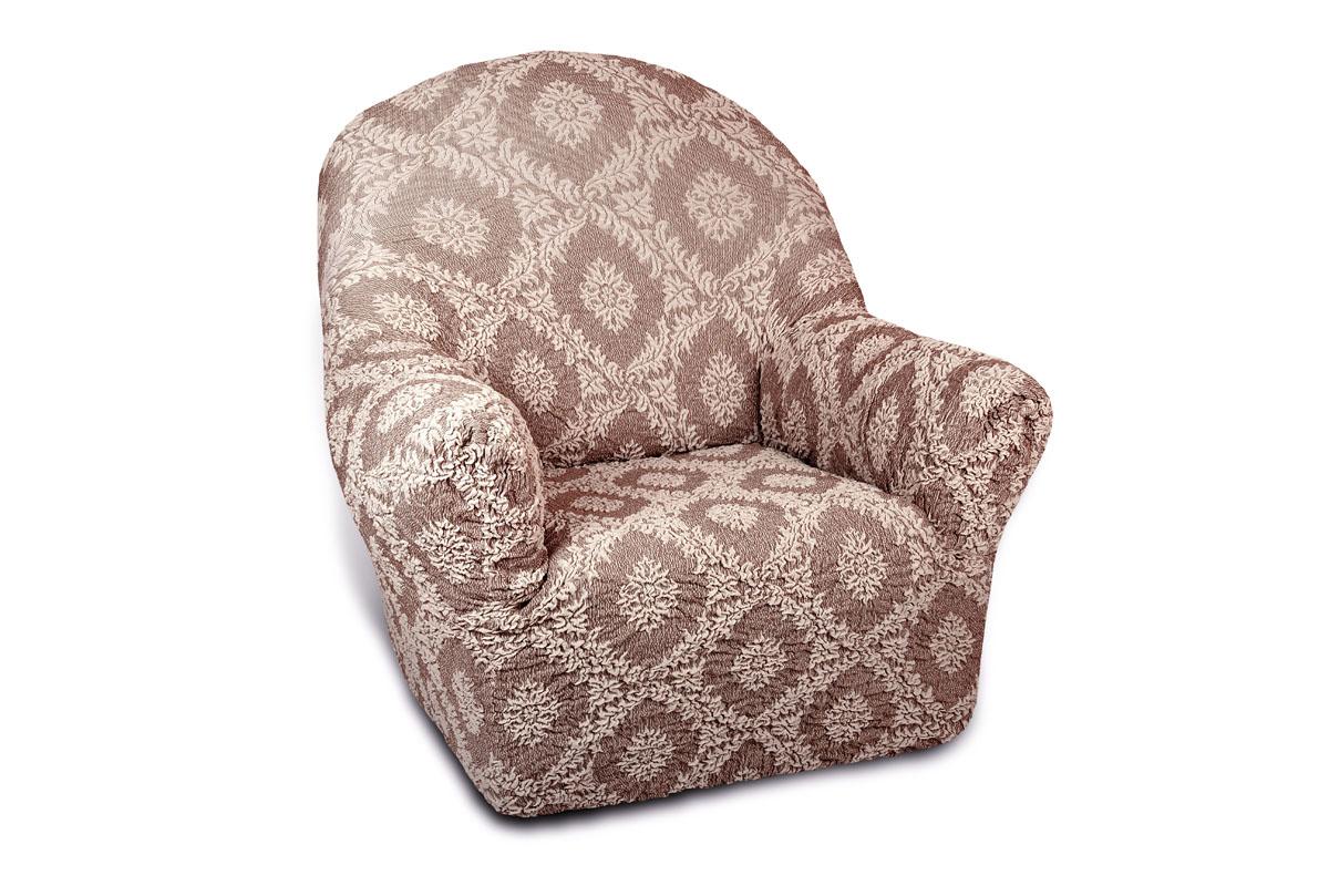 Чехол на кресло Еврочехол Жаккард. Сан-Марино, 60-90 см5/32-1Чехол на кресло Еврочехол Жаккард. Сан-Марино выполнен из 60% хлопка, 35% полиэстера, 5% эластана. Он особенно актуален для тех, кто хочет защитить свою мебель от постоянных воздействий. Этот чехол для мебели, благодаря прочности ткани, станет идеальным решением для владельцев домашних животных. Кроме того, натуральный состав ткани гипоаллергенен, а потому безопасен для малышей или людей пожилого возраста. Общая цветовая гамма чехла характеризуется мягкими, спокойными тонами. Такой чехол по достоинству оценят любители романтизма, ампира и других интерьерных стилей, отличающихся элегантностью, изысканностью и чувственностью. Гостиная, комната, кухня или детская - чехол на кресло Жаккард. Сан-Марино украсит любое помещение в вашем доме. А сторонники практичности могут быть уверены в том, что он прослужит 3-5 лет! Растяжимость чехла по спинке (без учета подлокотников): 60-90 см.