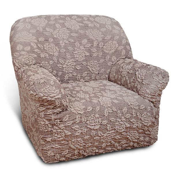 Еврочехол на кресло Еврочехол Жаккард. Розы, цвет: коричневый. 5/34-15/34-1Чехол Жаккард. Розы особенно актуален для тех, кто хочет защитить свою мебель от постоянных воздействий внешних факторов. Этот еврочехол для мебели, благодаря прочности ткани, станет идеальным решением для владельцев домашних животных. Кроме того, натуральный состав ткани гипоаллергенен, а потому безопасен для малышей или людей пожилого возраста. Общая цветовая гамма жаккардового еврочехла Розы характеризуется мягкими, спокойными коричневыми тонами. На коричневом фоне - элегантный жаккардовый рисунок роз. Выпуклый узор с эффектом 3D придает утонченность этому еврочехлу. Розы по достоинству оценят любители романтизма, ампира, прованса, регенства и других интерьерных стилей, отличающихся элегантностью, изысканностью и чувственностью. Жаккардовые модели придутся по вкусу ценителям плотных практичных, гобеленовых тканей. Состав: 80% хлопок, 15% полиэстер, 5% эластан. Растяжимость чехла по спинке (без учета подлокотников): от 60 до 90 сантиметров.