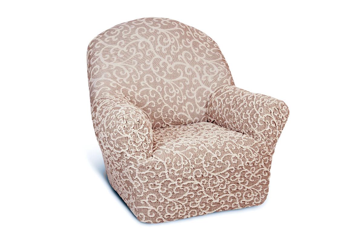 Чехол на кресло Еврочехол Жаккард, цвет: серый, светло-коричневый, 60-90 см5/31-1Чехол на кресло Еврочехол Жаккард выполнен из 60% хлопка, 35% полиэстера, 5% эластана. Он особенно актуален для тех, кто хочет защитить свою мебель от постоянных воздействий. Этот чехол для мебели, благодаря прочности ткани, станет идеальным решением для владельцев домашних животных. Кроме того, натуральный состав ткани гипоаллергенен, а потому безопасен для малышей или людей пожилого возраста. Общая цветовая гамма чехла характеризуется мягкими, спокойными тонами. Такой чехол по достоинству оценят любители романтизма, ампира и других интерьерных стилей, отличающихся элегантностью, изысканностью и чувственностью. Гостиная, комната, кухня или детская - чехол на кресло Жаккард украсит любое помещение в вашем доме. А сторонники практичности могут быть уверены в том, что он прослужит 3-5 лет! Растяжимость чехла по спинке (без учета подлокотников): 60-90 см.