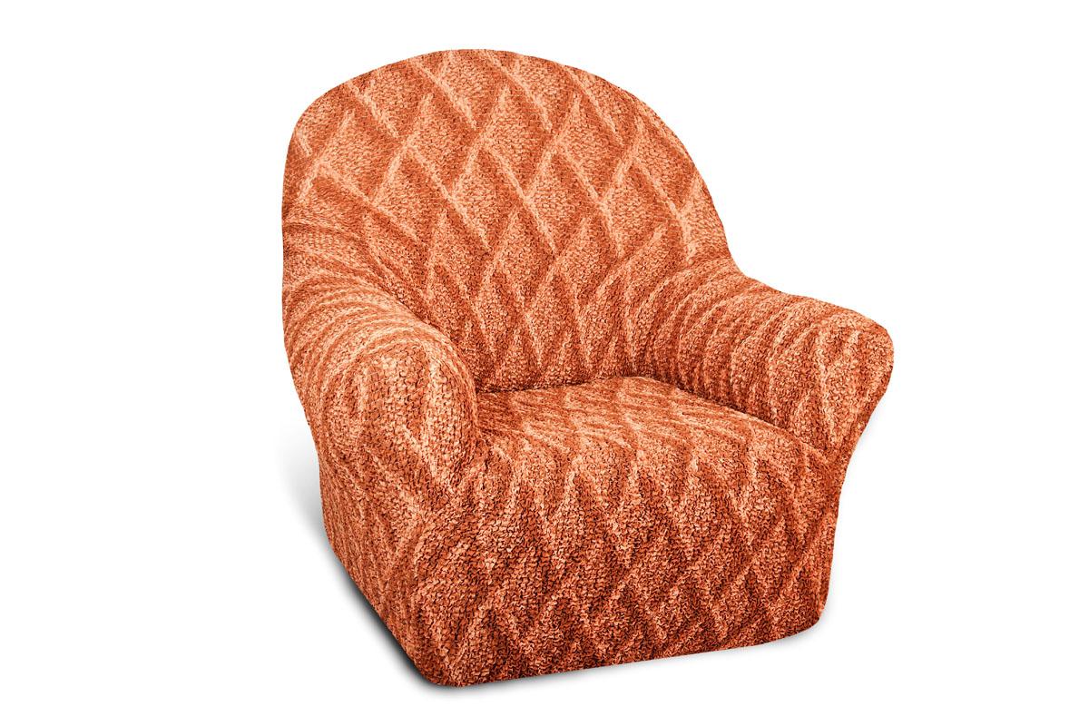 Еврочехол на кресло Еврочехол Ромбы, цвет: оранжевый. 6/38-16/38-1Чехол Ромбы идеально подойдет для тех, кто хочет защитить свою мебель от постоянных воздействий внешних факторов. Этот еврочехол, благодаря прочности ткани, станет идеальным решением проблемы для владельцев домашних животных. Кроме того, натуральный состав ткани гипоаллергенен, а потому безопасен для малышей или людей пожилого возраста. Ромбы - яркая модель сочного оранжевого цвета. Кроме того, итальянские дизайнеры придумали для этой модели неповторимый рисунок в виде ромбов, который имеет свойство проявляться при растяжении ткани. Еврочехол отлично вписывается в интерьер любого стиля, предполагающего однотонные яркие элементы: от классических минимализма и модерна до экстравагантных этно- или техно-стилей. Еврочехол для мягкой мебели Ромбы послужит не только практичной защитой для Вашей мебели, но и приятно удивит Вас мягкостью ткани и итальянским качеством производства. Гостиная, детская, кухня, прихожая или спальня - измените легко любую комнату! Добавьте красок! ...
