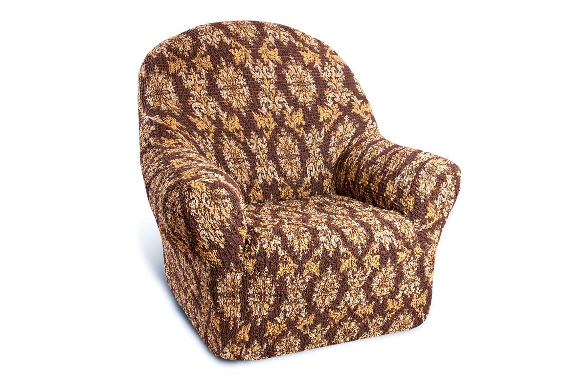 Еврочехол на кресло Еврочехол Классик, цвет: коричневый. 6/37-16/37-1Чехол Классик - идеальный вариант для тех, кто хочет не только защитить свою мебель от ежедневного воздействия внешних факторов (особенно актуально для владельцев домашних животных или семей с детьми), но и быстро и стильно изменить дизайн своего дома. Кроме того, натуральный состав ткани гипоаллергенен, а потому безопасен для малышей или людей пожилого возраста. Чехол для мебели Классик станет прекрасным дополнением интерьера как городских квартир, так и загородных домов. Модель придется по вкусу ценителям античности или восточных мотивов, а также многих других направлений. Еврочехол Классик, разработанный итальянскими дизайнерами, сочетает в себе строгость симметричного орнамента и классику сдержанной цветовой гаммы. Он долгое время будет радовать вас уже зарекомендовавшим себя в мире итальянским качеством производства. Состав: 50% хлопок, 50% полиэстер. Растяжимость чехла по спинке (без учета подлокотников): от 60 до 100 сантиметров.