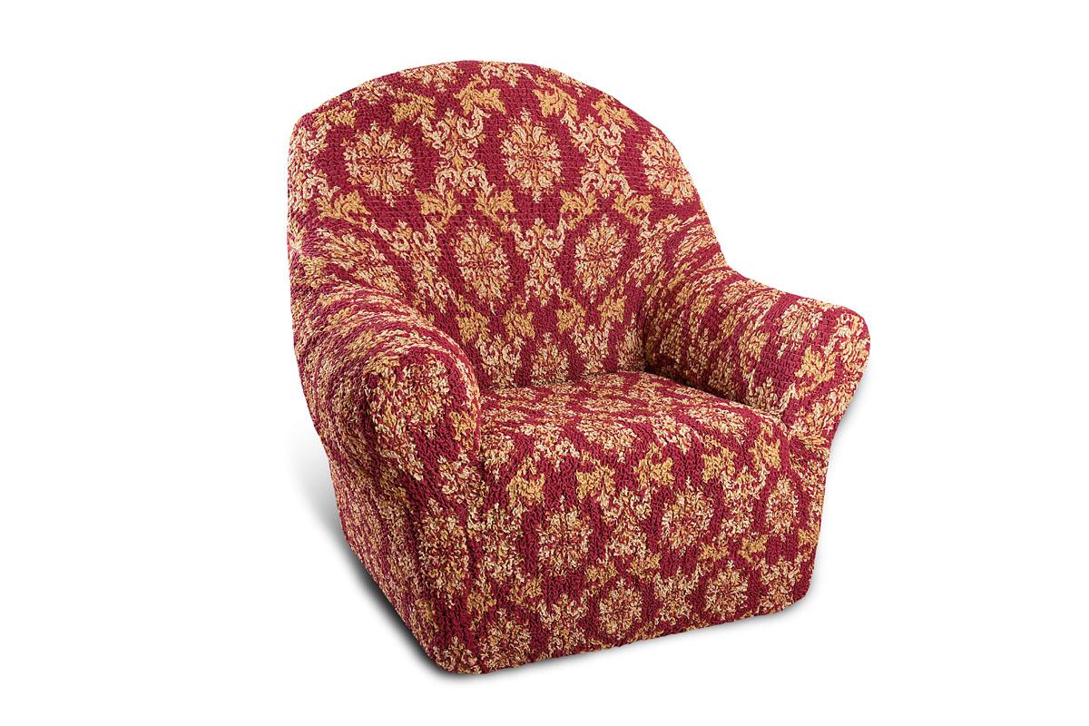 """Чехол на кресло Еврочехол """"Виста"""", цвет: бордовый, кремовый, 60-100 см ( 6/41-1 )"""