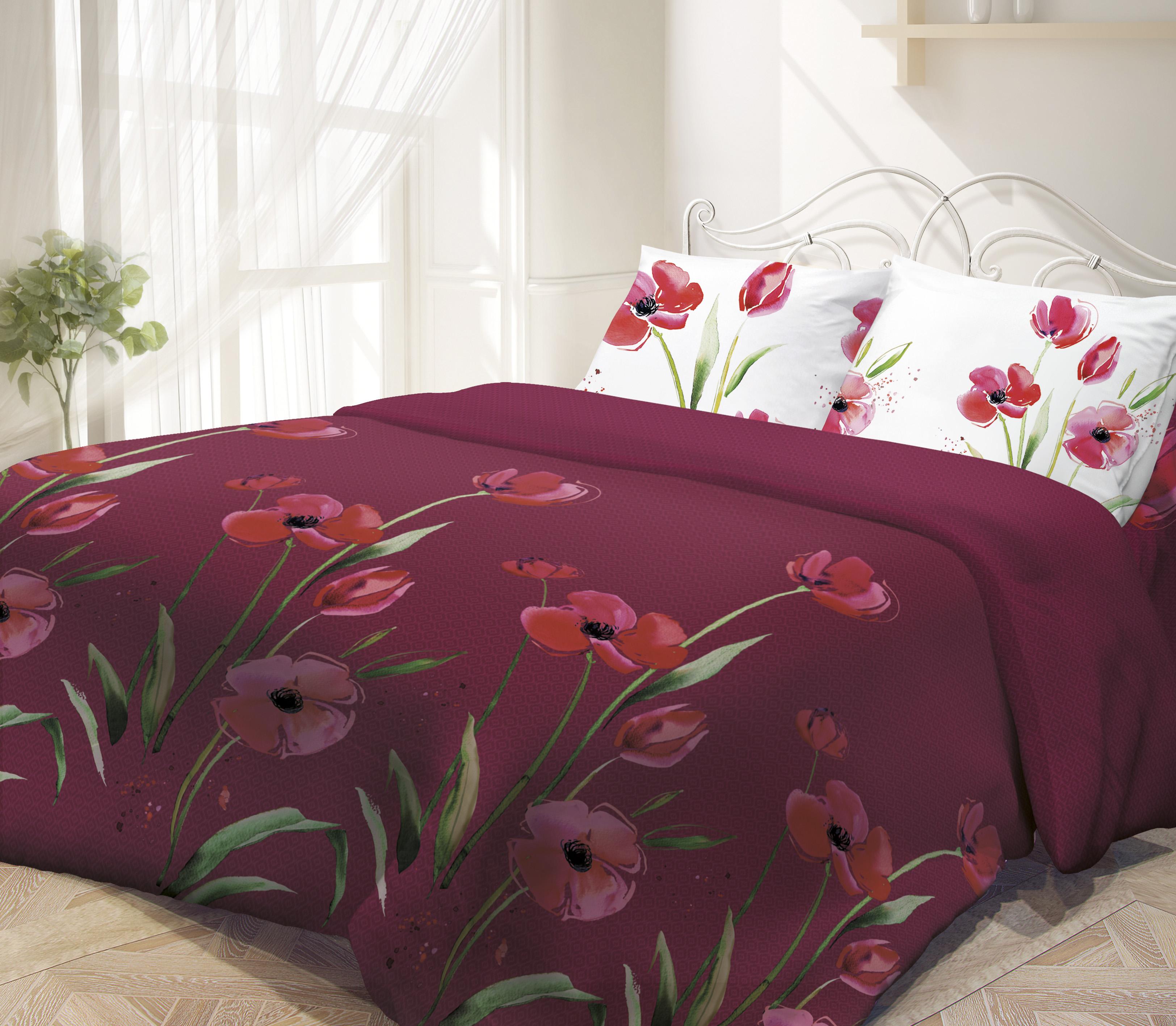 Комплект белья Гармония Маки, 1,5-спальное, наволочки 70х70. 187384