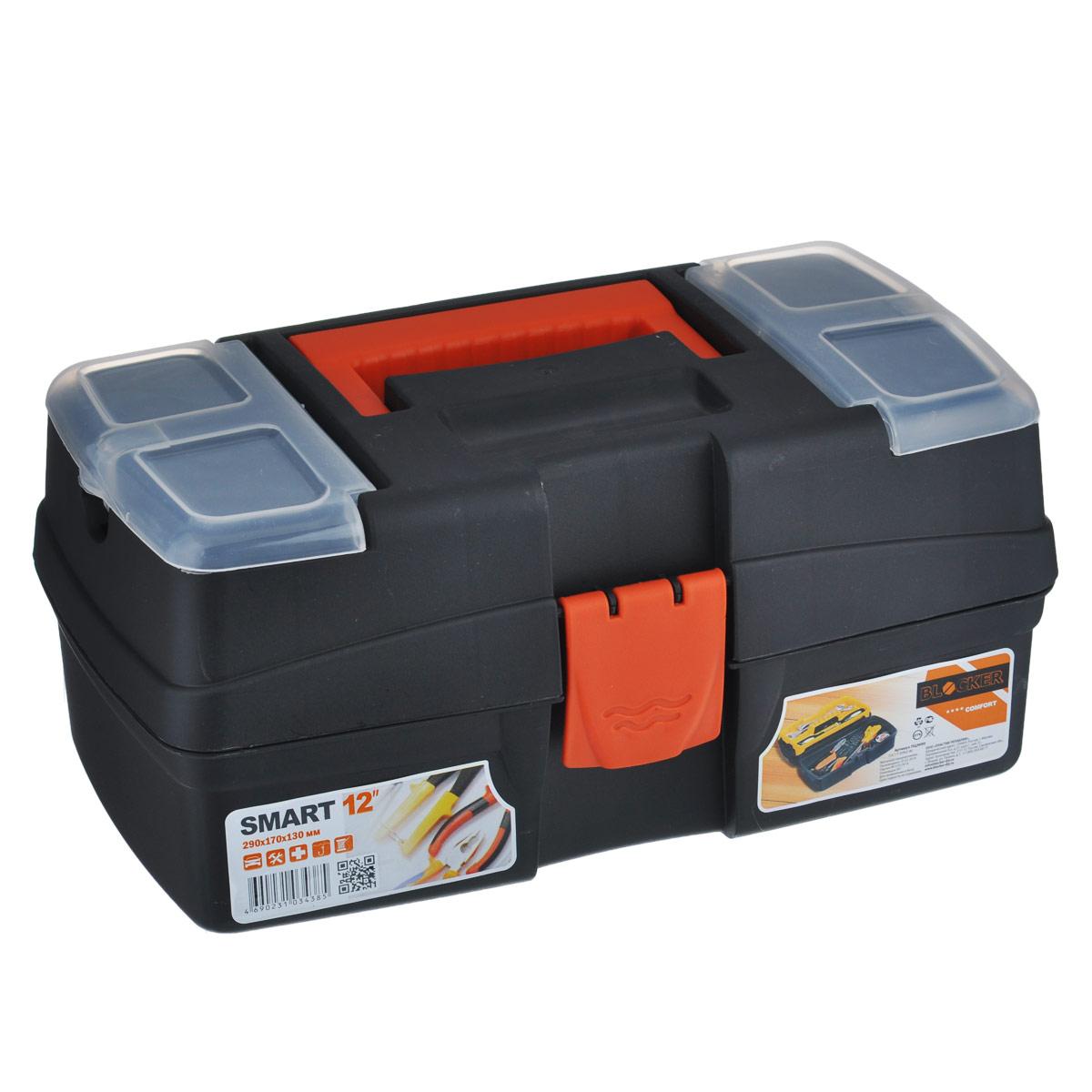 Ящик для инструментов Blocker Smart, с органайзером, цвет: черный, красный, 29 х 17 х 13 смПЦ3690Ящик Blocker Smart выполнен из прочного пластика и предназначен для хранения инструментов. Изделие оснащено ручкой для удобной переноски. В комплект входит небольшой съемный органайзер. Сверху на ящике расположены две секции с прозрачными крышками. Все крышки плотно закрываются на защелки.