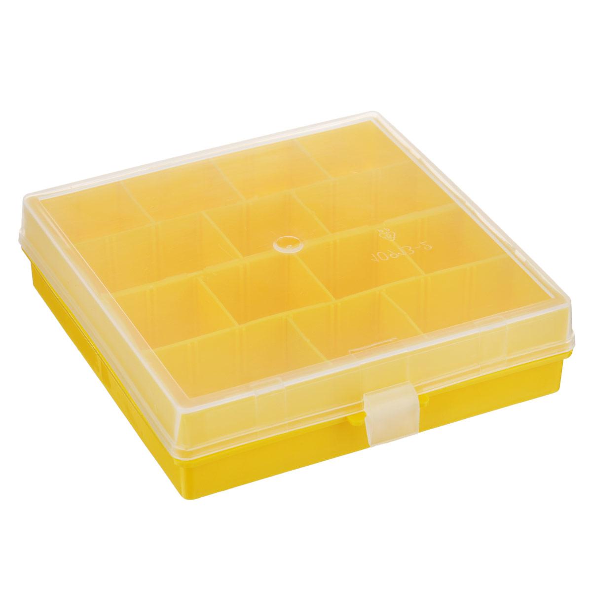Коробка для мелочей Полимербыт Профи 2, цвет: желтый, 14 х 14 х 3,5 смС502Коробка Полимербыт Профи 2 выполненная из прочного пластика, предназначена для хранения различных мелких вещей. Количество отделений можно изменять благодаря съемным перегородкам. Такая коробка закрывается при помощи прозрачной крышки, что поможет быстро определить содержимое. Коробка поможет хранить все в одном месте, а также защитить вещи от пыли, грязи и влаги.