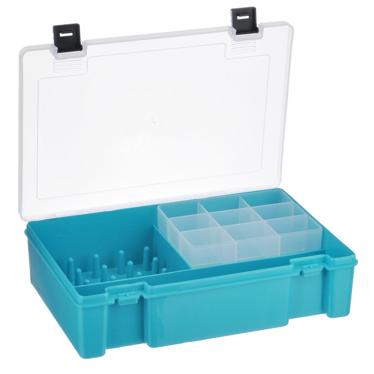 """Trivol / Тривол Коробка для мелочей """"Trivol"""", 2-х ярусная, цвет: бирюзовый, 27,3 см х 18 см х 6,5 см тип-8"""