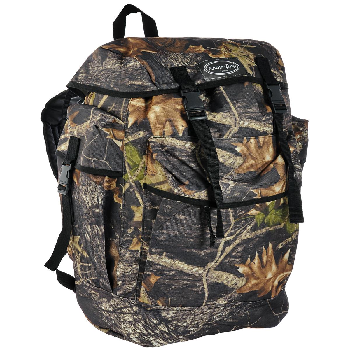 Рюкзак Алом-Дар Трофей, цвет: камуфляж, 50 л7910-050Алом-Дар Трофей - прямоугольный рюкзак в виде ранца. Имеется ручка для переноса. Особенности рюкзака: Спинка рюкзака внутри усилена пеной толщиной 0,7 см. Карман снаружи размером 32 см х 30 см открывается и закрывается с 2-х сторон, закрывается сверху планкой. Горловина рюкзака стягивается шнуром и стопором. 4 компрессионные стяжки (две на крышке рюкзака и две на лямках), которые регулируются по длине лямок. 3 объемных кармана - два по бокам и один снаружи. Боковые карманы размером 15 см х 30 см имеют компрессионную стяжку. Ткань Oxford плотностью 600гр/м2, прорезинена изнутри ПВХ.