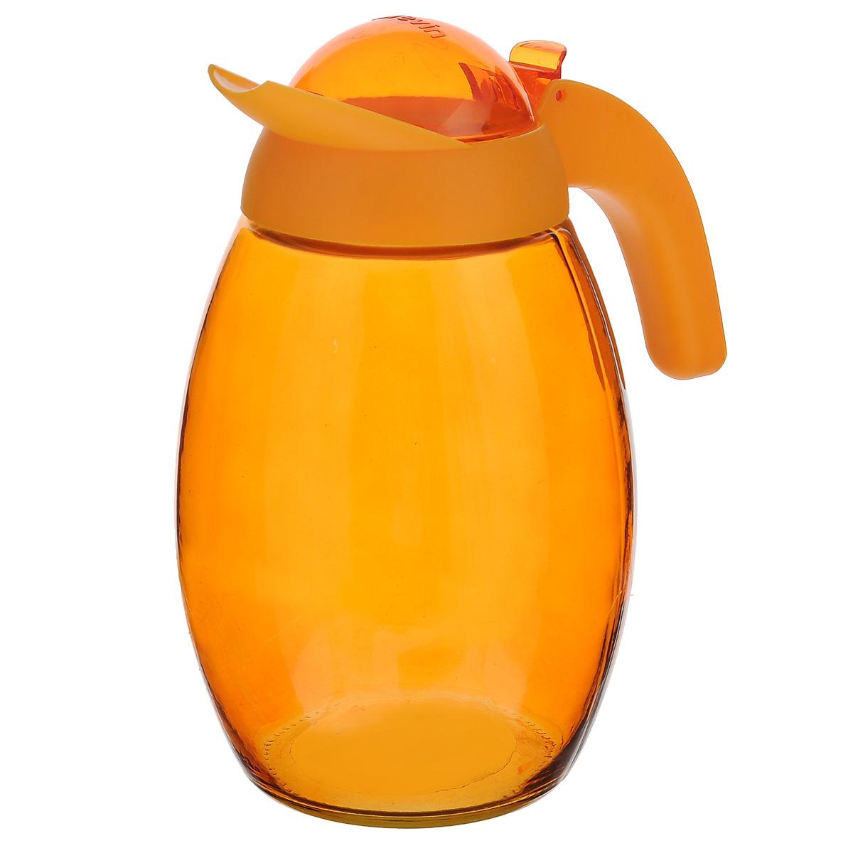 Кувшин Herevin с крышкой, цвет: оранжевый, 1,6 л. 111311111311-000Кувшин Herevin, выполненный из высококачественного прочного стекла, элегантно украсит ваш стол. Кувшин оснащен удобной ручкой и завинчивающейся пластиковой крышкой. Благодаря этому внутри сохраняется герметичность, и напитки дольше остаются свежими. Кувшин прост в использовании, достаточно просто наклонить его и налить ваш любимый напиток. Цветная крышка оснащена откидным механизмом для более удобного заливания жидкостей. Изделие прекрасно подойдет для подачи воды, сока, компота и других напитков. Кувшин Herevin дополнит интерьер вашей кухни и станет замечательным подарком к любому празднику. Диаметр (по верхнему краю): 6 см. Высота кувшина (без учета крышки): 18,5 см.