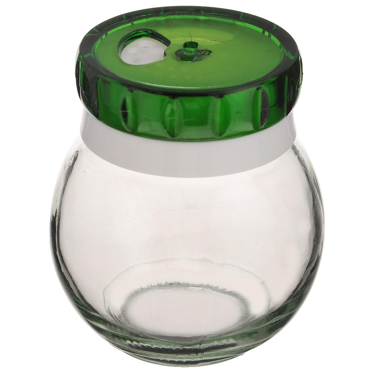 Банка для специй Herevin, цвет: зеленый, 200 мл. 131007-802131007-802_зелёныйБанка для специй Herevin выполнена из прозрачного стекла и оснащена пластиковой цветной крышкой с отверстиями разного размера, благодаря которым, вы сможете приправить блюда, просто перевернув банку. Крышка снабжена поворотным механизмом, благодаря которому вы сможете регулировать степень подачи специй. Крышка легко откручивается, благодаря чему засыпать специи внутрь очень просто. Такая баночка станет достойным дополнением к вашему кухонному инвентарю. Можно мыть в посудомоечной машине. Диаметр (по верхнему краю): 5,5 см. Высота банки (без учета крышки): 8 см.