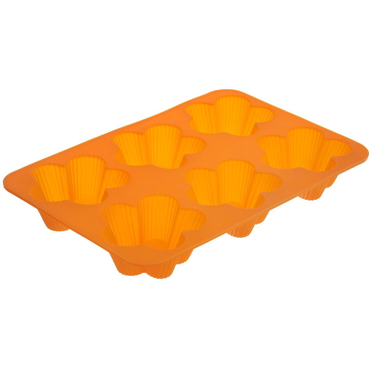 Форма для выпечки Marmiton Цветочки, 6 ячеек, цвет: оранжевый16112_оранжевыйФорма Marmiton Цветочки, изготовленная из высококачественного пищевого силикона, предназначена для приготовления выпечки, льда, конфет, желе, запеканок, шоколада, пудингов. На одном листе расположено 6 ячеек, выполненных в виде цветов. С такой формой вы всегда сможете порадовать своих близких оригинальной выпечкой. Силикон устойчив к фруктовым кислотам, к воздействию низких и высоких температур (выдерживает температуру от 240°C до - 40°C). Не взаимодействует с продуктами питания и не впитывает их запахи, как при нагревании, так и при заморозке. Обладает естественными антипригарными свойствами. Неприлипающая поверхность идеальна для духовки, морозильника, микроволновой печи и аэрогриля. Из формы легко и быстро можно достать выпечку. Силиконовая форма также практична при хранении за счет гибкости, ее можно смело мыть в посудомоечной машине. Общий размер формы: 25,5 см х 17,5 см х 3 см. Размер ячейки: 7,5 см х 7,5 см х 3 см.